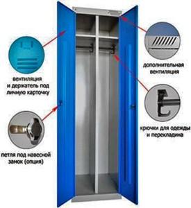 Металлический шкаф для одежды на фото