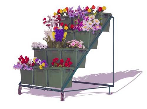 Стеллаж для цветов прямой с цветочными ящиками фото