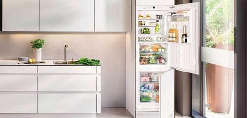 На фото интерьер кухни со встроенным холодиольником